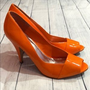 Aldo Patent Leather Orange Peep Toe Heels